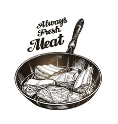 Meat steak in frying pan Hand drawn sketch vector
