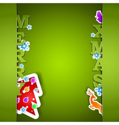 Merry Xmas green card eps10 vector image
