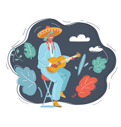 Mexican man playing guitar on dark vector
