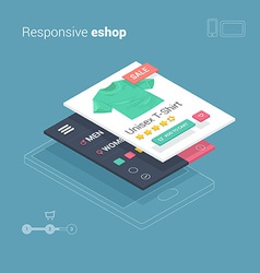 Mobile shopping with responsive eshop website appl vector image