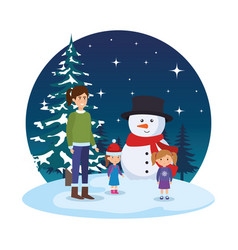 mother and kids with christmas clothes in vector image