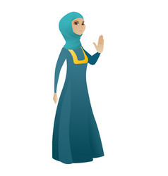 Muslim business woman showing palm hand vector
