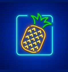 Neon icon of pineapple ripe vector