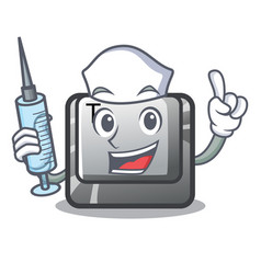Nurse t button installed on character computer vector