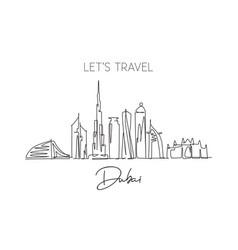 one single line drawing dubai city skyline vector image