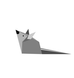 origami paper gray mouse vector image