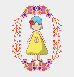 peace and love woman with flowers branches vector image