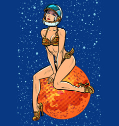 Pin up girl attractive sexy astronaut woman alien vector