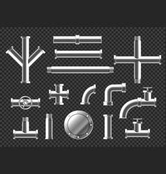 pipes and plumbing fittings realistic set vector image