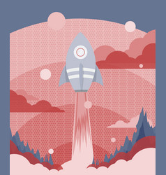 Poster design with a rocket flying to outer space vector