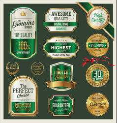 quality gold and green retro badges collection vector image