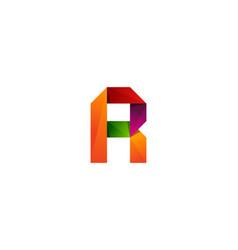 r ribbon letter logo icon design vector image