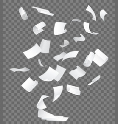realistic 3d detailed white flying papers vector image