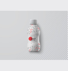 Realistic mockup white plastic curly bottle vector