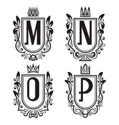 Royal coat of arms set m n o p monogram vector