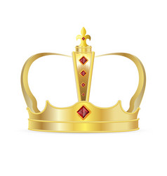 royal crown isolated realistic gold crown vector image