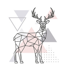 Scandinavian deer side view geometric vector