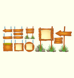 set cartoon wooden signs vector image