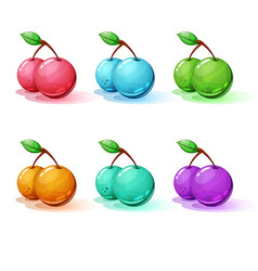 set color cartoon cherry vector image