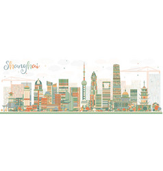 Shanghai skyline with color buildings vector