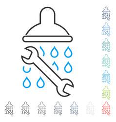 Shower plumbing contour icon vector