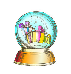 snow globe with christmas gifts souvenir color vector image
