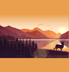 sunset mountain landscape with deer on lake vector image