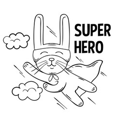 Superhero cute white rabbit flies vector