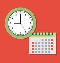 timing concept calendar and clock icon vector image