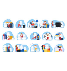 tired people set vector image