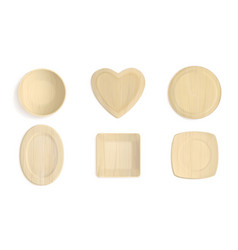 top view wooden different shapes bowls vector image