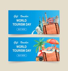 Tourism voucher design with landmark each vector