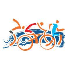 Triathlon racers expressive symbol vector