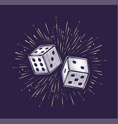 two dice gambling casino concept vector image