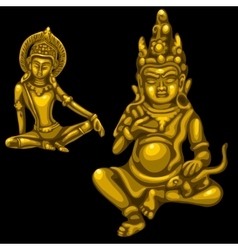 Two Golden figures of male and female deities vector