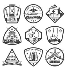 Vintage monochrome medical labels set vector