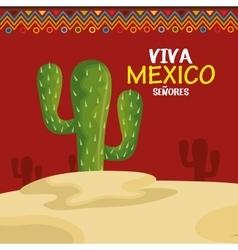 Viva mexico cactus symbol design vector