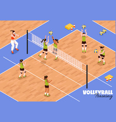 volleyball kids team background vector image