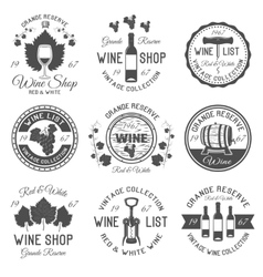 Wine Shop Black White Emblems vector image