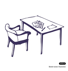 Desk and chair vector image vector image