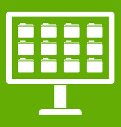 desktop of computer with folders icon green vector image vector image