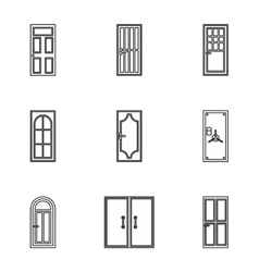 Exterior doors icons set outline style vector