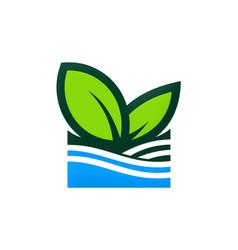 green leaf nature organic logo vector image