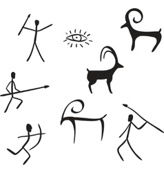 primitive figures looks like cave painting vector image vector image