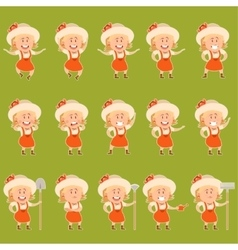 Set of gardener women flat icons3 vector image vector image