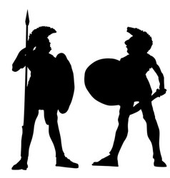 spartan warrior silhouettes on white vector image