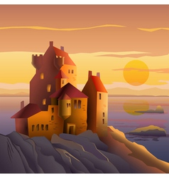 Castle on the coast at sunset vector image vector image
