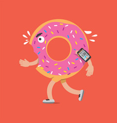 donut on the run with smartphone health concept vector image vector image