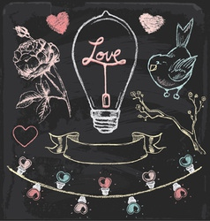 Hand Drawn Chalk Romantic Elements Set vector image vector image