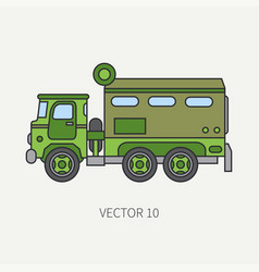 line flat color icon armored wagon army vector image